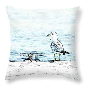 Maine Seagull Throw Pillow