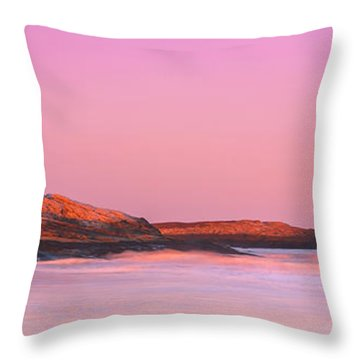 Maine Sheepscot River Bay With Cuckolds Lighthouse Sunset Panorama Throw Pillow