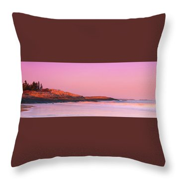 Maine Sheepscot River Bay With Cuckolds Lighthouse Sunset Panorama Throw Pillow by Ranjay Mitra