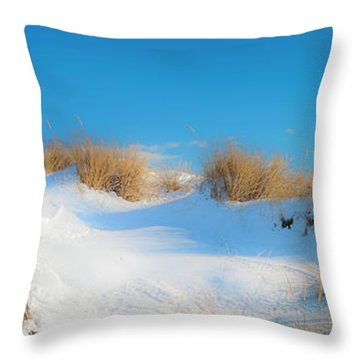 Maine Snow Dunes On Coast In Winter Panorama Throw Pillow