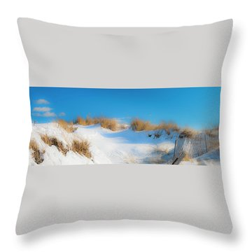 Maine Snow Dunes On Coast In Winter Panorama Throw Pillow by Ranjay Mitra