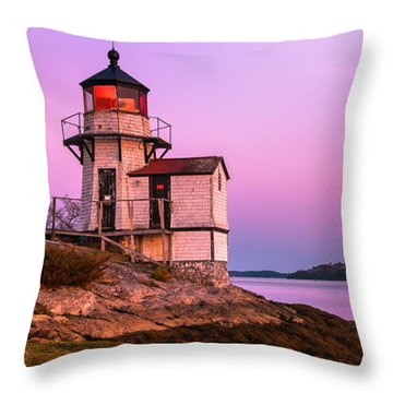 Maine Squirrel Point Lighthouse On Kennebec River Sunset Panorama Throw Pillow