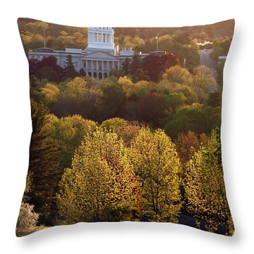 Maine State Capitol At Sunset Throw Pillow by Olivier Le Queinec