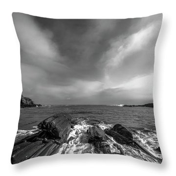 Maine Storm Clouds And Crashing Waves On Rocky Coast Throw Pillow by Ranjay Mitra