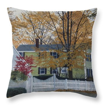 Autumn Day On Maine Street, Kennebunkport Throw Pillow by Barbara Barber