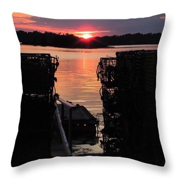 Maine Sunset And Traps Throw Pillow