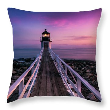Maine Sunset At Marshall Point Lighthouse Throw Pillow by Ranjay Mitra