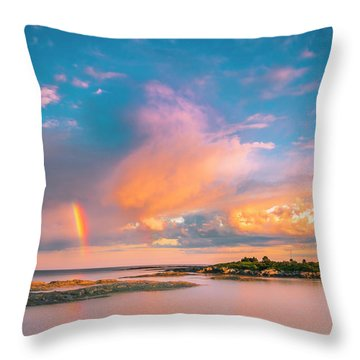 Maine Sunset - Rainbow Over Lands End Coast Throw Pillow