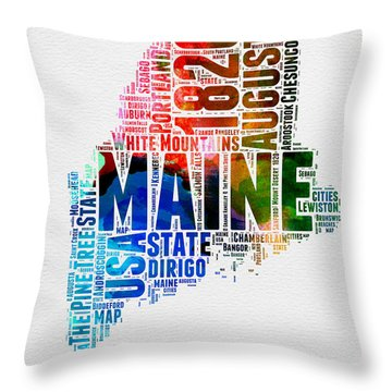 Maine Watercolor Word Cloud  Throw Pillow