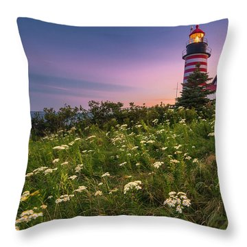 Maine West Quoddy Head Lighthouse Sunset Throw Pillow