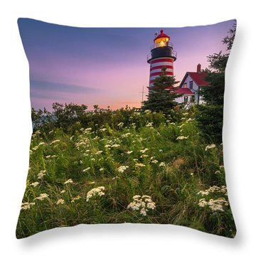 Throw Pillow featuring the photograph Maine West Quoddy Head Lighthouse Sunset by Ranjay Mitra