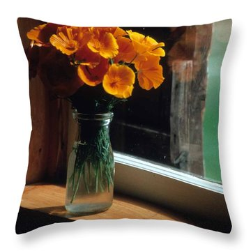 Maine Windowsill Throw Pillow by Laurie Paci