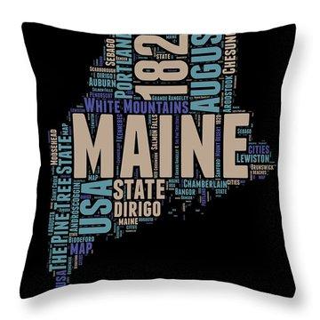 Maine Word Cloud 1 Throw Pillow