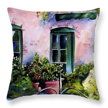 Throw Pillow featuring the painting Maison Fleurie by Marti Green