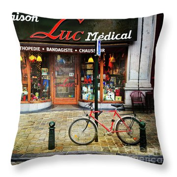 Throw Pillow featuring the photograph Maison Luc Bicycle by Craig J Satterlee