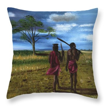 Throw Pillow featuring the painting Maissai by The GYPSY And DEBBIE