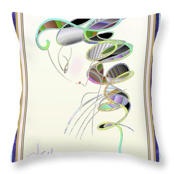 Throw Pillow featuring the mixed media Maitresse-en-titre by Larry Talley