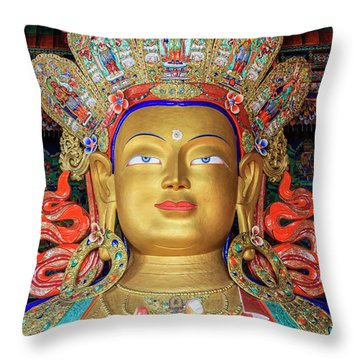 Throw Pillow featuring the photograph Maitreya Buddha Statue by Alexey Stiop