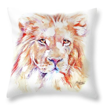 Majestic African Lion Throw Pillow by Stephie Butler