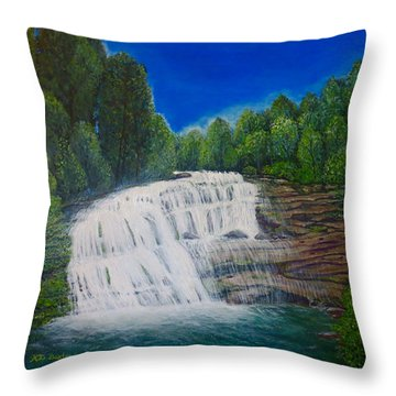 Majestic Bald River Falls Of Appalachia II Throw Pillow