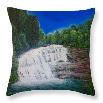 Majestic Bald River Falls Of Appalachia II Throw Pillow by Kimberlee Baxter