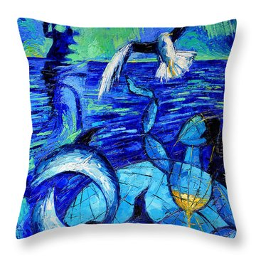 Majestic Bleu Throw Pillow by Mona Edulesco