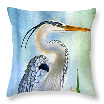 Majestic Blue Heron Throw Pillow