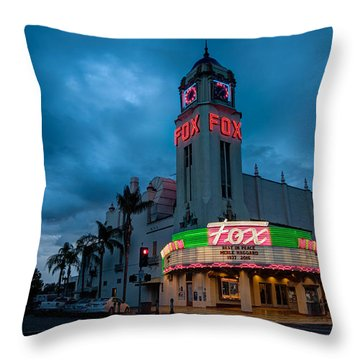 Majestic Fox Theater Sunset Stormy Night Throw Pillow