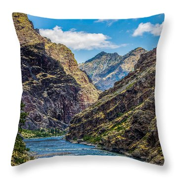 Majestic Hells Canyon Idaho Landscape By Kaylyn Franks Throw Pillow