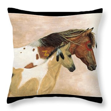 Majestic Horses Mare Foal Throw Pillow