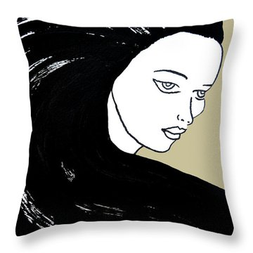 Majestic Lady J0715e Lemon Grass Green Pastel Painting 12-0626 Dcd494 C8c199 Throw Pillow