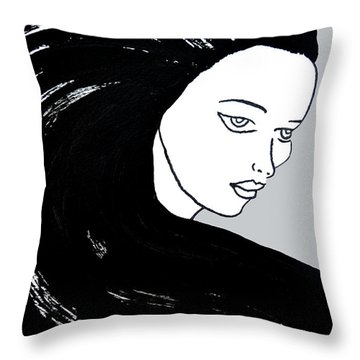 Majestic Lady J0715i Shadow Gray Pastel Painting 16-1509 Bba5a0 C6cacc Throw Pillow