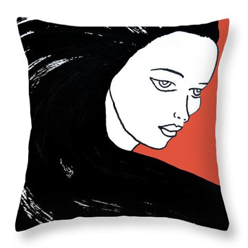 Majestic Lady J0715j Tangerine Tango Orange Pastel Painting 17-1463  E1523d F0532a Throw Pillow