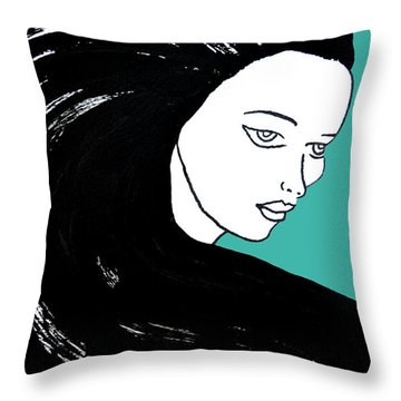 Majestic Lady J0715k Turquoise Green Pastel Painting 15-5519 41b6ab Throw Pillow