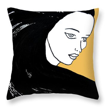 Majestic Lady Mimosa Yellow Pastel Painting 14-0848 F0b59 Throw Pillow