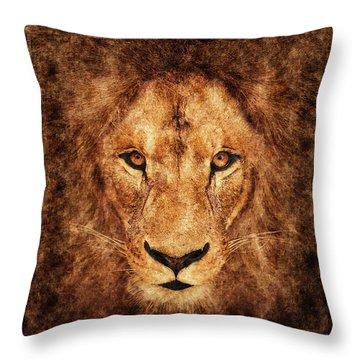 Majestic Lion Throw Pillow by Anton Kalinichev
