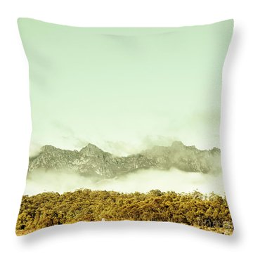 Majestic Misty Mountains Throw Pillow