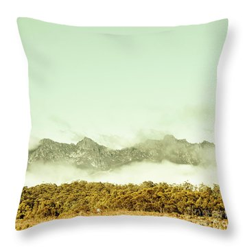 Majestic Misty Mountains Throw Pillow