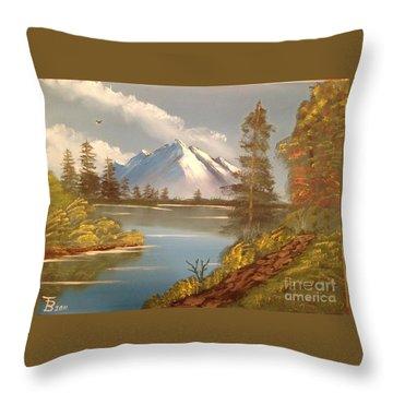 Majestic Mountain Lake Throw Pillow by Tim Blankenship