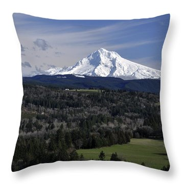 Throw Pillow featuring the photograph Majestic Mt Hood by Jim Walls PhotoArtist