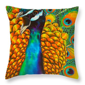 Majestic Peacock Throw Pillow