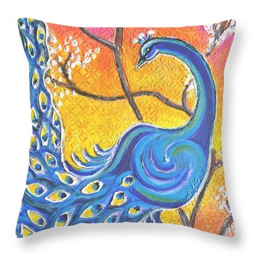Majestic Peacock Colorful Textured Art Throw Pillow
