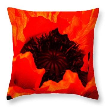 Majestic Poppy Throw Pillow by Baggieoldboy