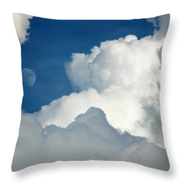 Majestic Storm Clouds With Moon Throw Pillow