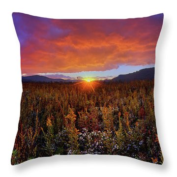Majestic Sunset Over Cades Cove In Smoky Mountains National Park Throw Pillow