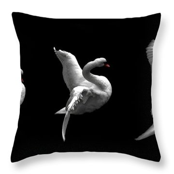Majestic Swan Triptych Throw Pillow