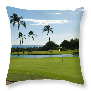 Makaha Golf Course Throw Pillow by Bill Bachmann - Printscapes