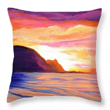 Makana Sunset Throw Pillow by Marionette Taboniar