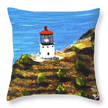Makapuu Lighthouse #78, Throw Pillow by Donald k Hall
