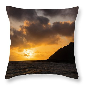 Makapuu Point Lighthouse Sunrise Throw Pillow by Brian Harig
